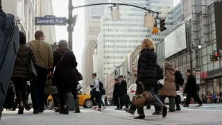 business people commuting to work in the city. NYC Street scene