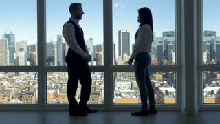 business people meeting inside office building. urban city skyline background