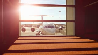 business travel background. airplane aircraft. airport gate terminal.