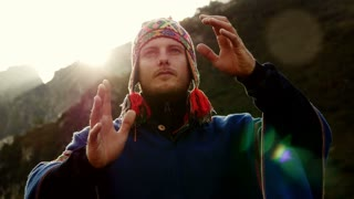 caucasian man doing spiritual ceremony. recreational pursuit background