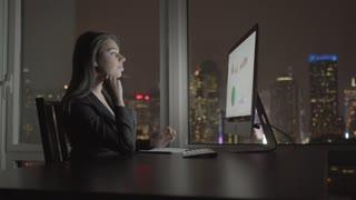 caucasian women working in modern office. computer workplace. urban city skyline