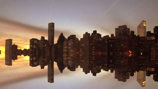 city reflecting in water. cityscape skyline background. dusk evening sky