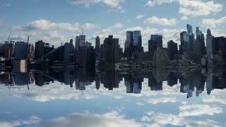 city skyline water reflection. time lapse of cloudy sky. urban landmark