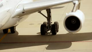 close up of plane turbine engine - airplane airport - flight flying