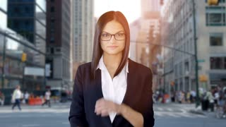 confident young business women taking of glasses smiling