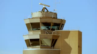 control tower at airport - aviation background - radar - security safety