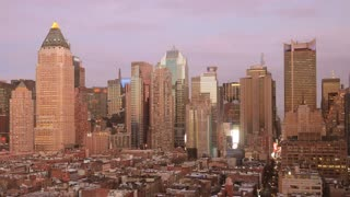 day to night time lapse of skyline cityscape new york. urban background