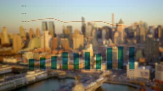 establishing shot of modern city skyline. company sales profits charts