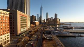establishment shot new york city skyline. urban business district at sunset sky