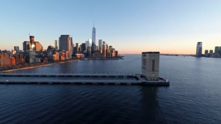 establishment shot new york city skyline. urban business district at sunset