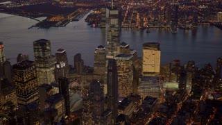 establishment shot new york city skyline. urban business district