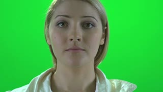 face close up isolated green screen