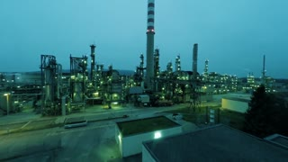 flying over oil refinery factory. industrial background. gas gasoline production