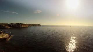 flying over rocky coastal landscape. epic ocean seascape scenery