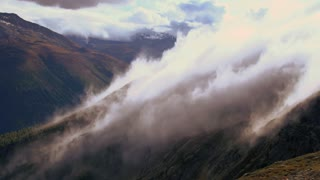 fog time lapse. beautiful landscape. foggy cloudy waves