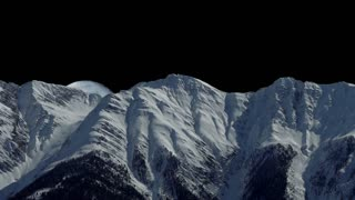 full moon raising. mountain panorama view. snow winter landscape background