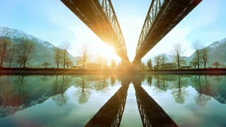 futuristic architecture. modern bridge. lake river panorama. nature sunset