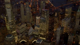 ground zero world trade center memorial aerial view at night. Shot on Red Epic
