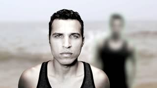 handsome man male model portrait. beach background. slow motion. montage
