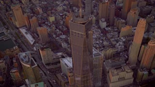 helicopter shot of freedom tower in new york city. Shot on Red Epic