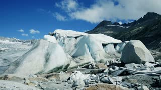 ice glacier covered with protection planked to stop melting process