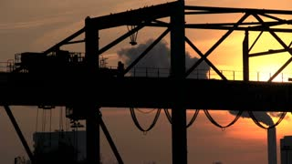 import export. container crane industrial industry. logistics. sunset dusk