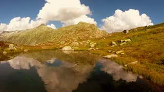 lake water reflection. epic mountain landscape scenery. peaceful nature