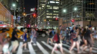 large crowd of unrecognizable commuters walking in the city