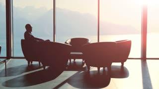 luxury interior. business meeting. businessman discussion. client. handshake
