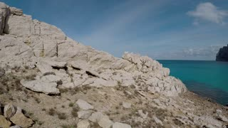 luxury vacation scenery of sailboat and coastal landscape background