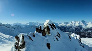 majestic mountains. panorama. aerial view. fly over. winter snow landscape