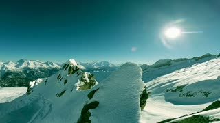 majestic mountains. peak. on top. aerial view. fly over. snow winter landscape