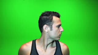 male isolated on green screen. handsome face