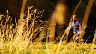 man running in slow motion. recreational activity. alternative life