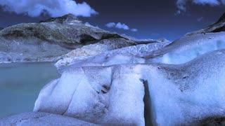 man standing on glacier rock enjoying mountain nature landscape