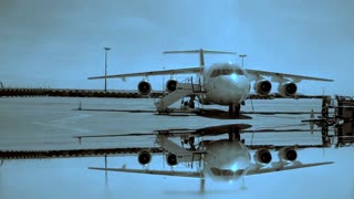 mirror reflection. airport gate terminal. transportation boing jet charter