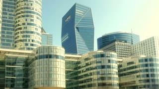 modern city buildings. skyline skyscrapers. business people commuters.