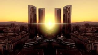 modern futuristic building. real estate. city urban skyline