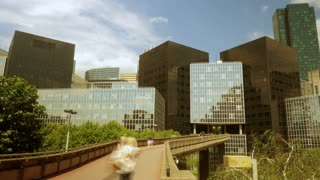 modern office business buildings. time lapse. people moving