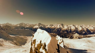 mountain panorama view. aerial view. fly over. winter snow landscape
