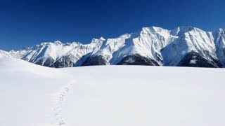 mountain panorama view. snow winter landscape background
