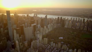 new york city aerial vew at sunset