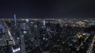 new york city at night. nyc. skyline skyscrapers. urban cityscape