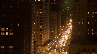 new york city at night. urban street scenery. traffic lights. aerial view