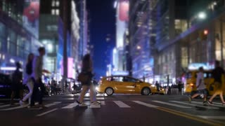 new york city night street scenery. urban metropolis background