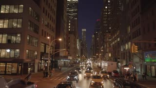 New york city street traffic at night. tourism people. Shot on Red Epic