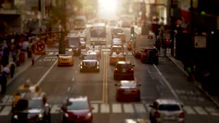 new york city street traffic scene at sunset light