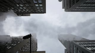 new york skyline smoke from street areal view 1080 HD