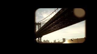 old nostalgic vintage background. bridge road street. subway train window view
