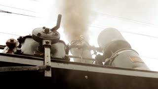 old steam engine train locomotive. nostalgic historical retro vintage technology background